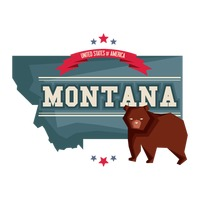 Montana map with grizzly bear