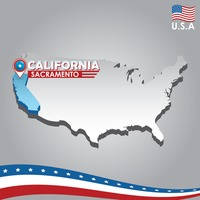 Popular : Navigation pointer indicating california on usa map