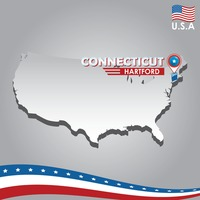 Popular : Navigation pointer indicating connecticut  on usa map