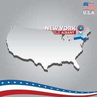 Popular : Navigation pointer indicating new york on usa map