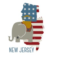 New jersey state map with lucy the elephant