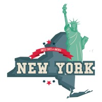 New york map with statue of liberty