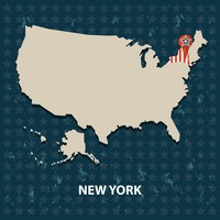 New york state on the map of usa