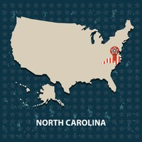 North carolina state on the map of usa
