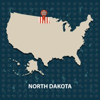 North dakota state on the map of usa