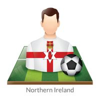 Northern ireland player with soccer ball on field