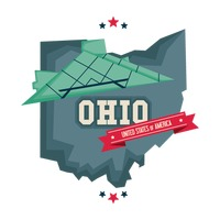 Ohio map with rock and roll hall of fame