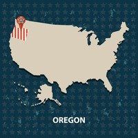Oregon state on the map of usa
