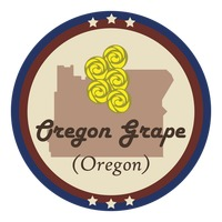 Oregon state with oregon grape flower
