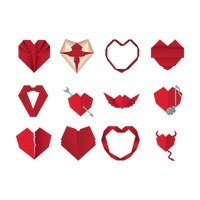 Origami paper heart set