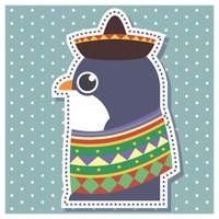 Penguin in mexican outfit