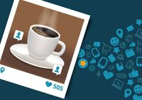 Photograph of coffee with social media icons