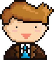 Pixel art businessman