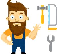 Pixel art carpenter