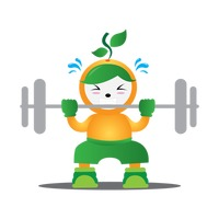 Plant character lifting dumbbell