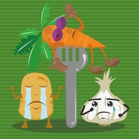 Potato and onion crying for carrot on fork