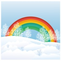 Rainbow with snow and trees
