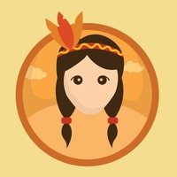 Popular : Red indian girl with feather headband