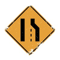 right lane ends sign vector image 1545035 stockunlimited