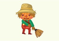 Scarecrow with a broom