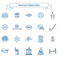 Set of american culture icons