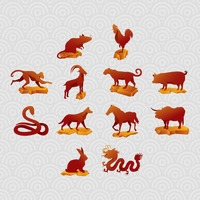 Set of chinese zodiac icons