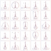 Set of eiffel tower wallpapers