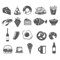 Set of food items