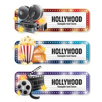 Set of hollywood banners