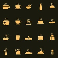 Set of hot food icons