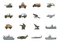 Set of military vehicle and weapons