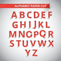 Set of paper cut alphabets