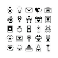 Popular : Set of romantic icons