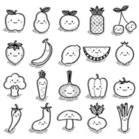 Set of smiling characters of fruits and vegetables