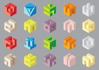 Popular : Set of three dimensional cube