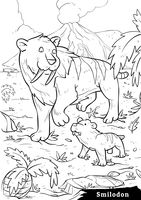 Smilodon with cubs