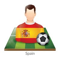 Spain player with soccer ball on field