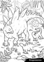 Stegosaurus with hatchlings