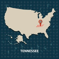 Tennessee state on the map of usa