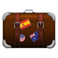 Travel bag with flag labels