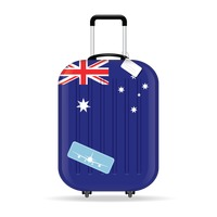 Travel suitcase with australia flag