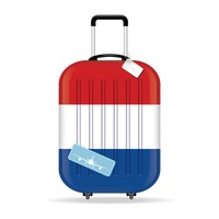 Travel suitcase with netherland flag