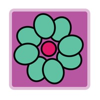 Popular : Turquoise flower on purple background