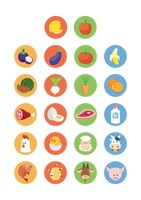 Various fresh farm produce icons