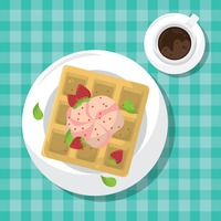 Popular : Waffle tart with strawberry