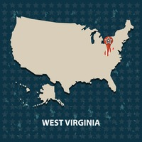 West virginia state on the map of usa