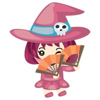 Witch with folding fans