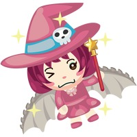 Witch with wand and dragon wings