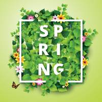 Popular : Word spring with flowers and leaves