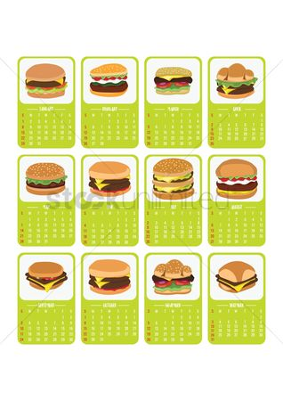 Oct : 2017 burger themed calendar